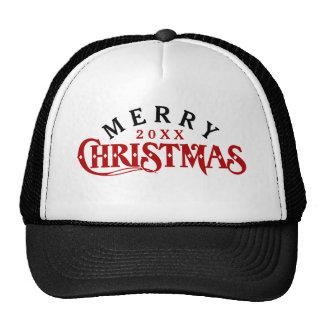 Dark Red Elegant Christmas Text Design Trucker Hat