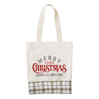 Dark Red Elegant Christmas Text Design Zazzle HEART Tote Bag