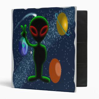 Dark Red Eyes Peace Space Alien 3 Ring Binder