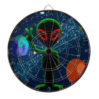 Dark Red Eyes Peace Space Alien Dart Board