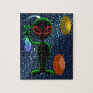 Dark Red Eyes Peace Space Alien Jigsaw Puzzle