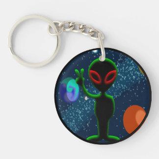 Dark Red Eyes Peace Space Alien Keychain