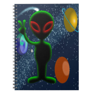 Dark Red Eyes Peace Space Alien Notebooks