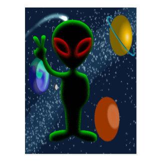 Dark Red Eyes Peace Space Alien Postcard