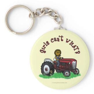 Dark Red Farmer Girl Keychain