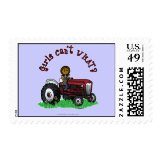 Dark Red Farmer Girl Stamps
