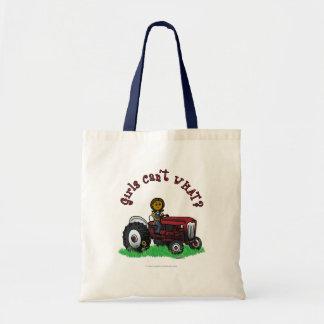 Dark Red Farmer Girl Tote Bag