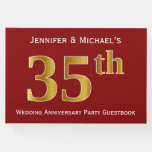 [ Thumbnail: Dark Red, Faux Gold 35th Wedding Anniversary Party Guest Book ]