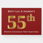 [ Thumbnail: Dark Red, Faux Gold 55th Wedding Anniversary Party Guest Book ]