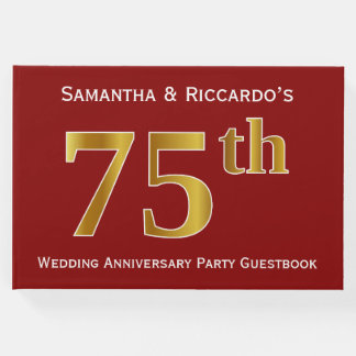 Dark Red, Faux Gold 75th Wedding Anniversary Party Guest Book
