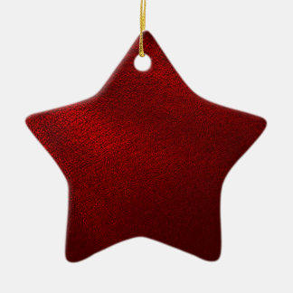 Dark Red (Faux) Leather Look Ceramic Ornament