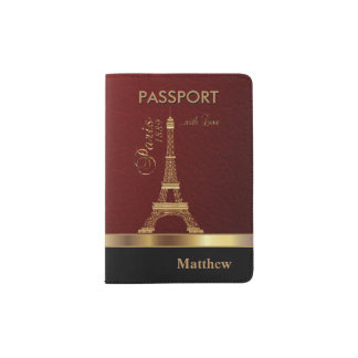 Dark Red Faux Leather with Gold Paris Accent Passport Holder