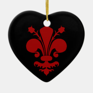 Dark red fleur de lis symbol ceramic ornament