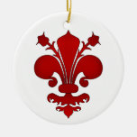 Dark red fleur de lis symbol Double-Sided ceramic round christmas ornament