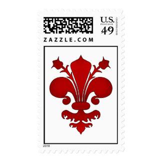 Dark red fleur de lis symbol stamps