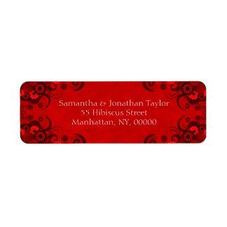 Dark Red Floral Gothic Return Address Labels