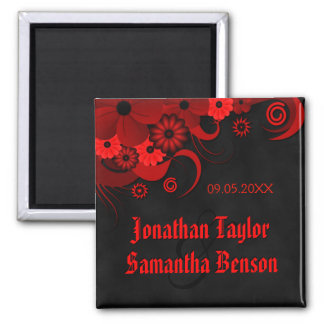 Dark Red Floral Gothic Save The Date Fridge Magnet