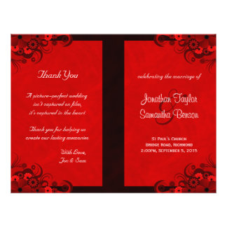 Dark Red Floral Gothic Wedding Program Templates