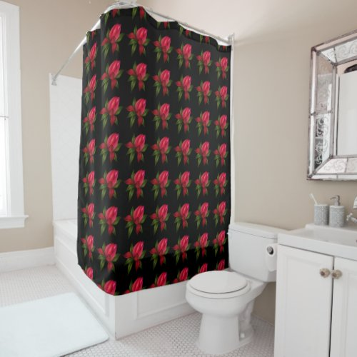 Dark Red Floral on Black Shower Curtain