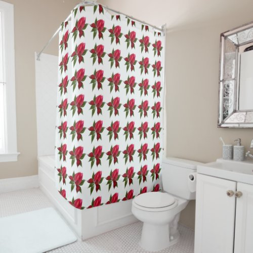 Dark Red Floral on White Shower Curtain