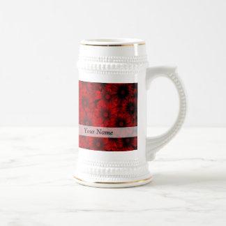 Dark red floral pattern beer stein