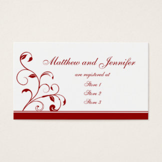 Dark Red Fl Wedding Gift Registry Cards