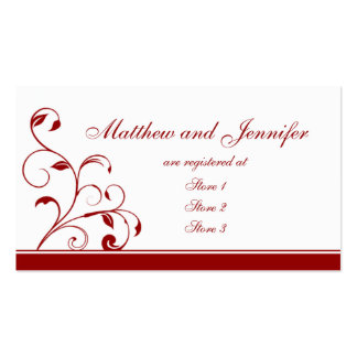 Dark Red Floral Wedding Gift Registry Cards Business Card Templates