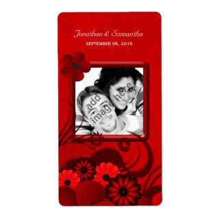 Dark Red Floral Wedding Photo Favor Wine Labels