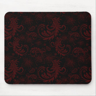 Dark Red Flourish Mouse Pad
