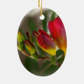 dark red freesia ceramic ornament