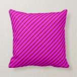 [ Thumbnail: Dark Red & Fuchsia Colored Lined Pattern Pillow ]