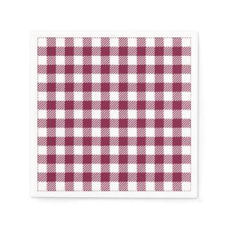 Dark Red Gingham Plaid Pattern Napkins
