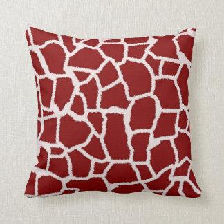 Dark Red Giraffe Animal Print Throw Pillows