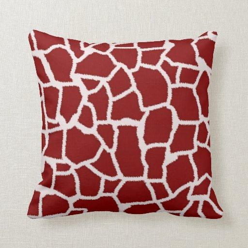 Dark Red Giraffe Animal Print Throw Pillows Zazzle