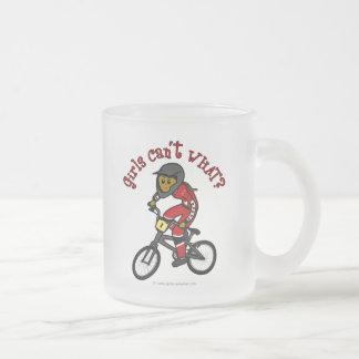 Dark Red Girls BMX Frosted Glass Coffee Mug
