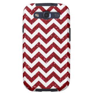 Dark Red Glitter Chevron Pattern Samsung Galaxy S3 Cases