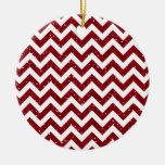 Dark Red Glitter Chevron Pattern Christmas Ornament