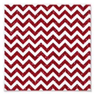 Dark Red Glitter Chevron Pattern Photo Print