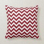 Dark Red Glitter Chevron Pattern Pillow