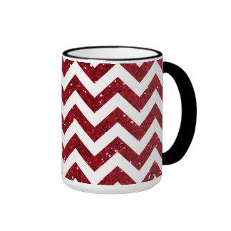 Dark Red Glitter Chevron Pattern Ringer Coffee Mug