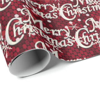 Dark Red Glittery Confetti Merry Christmas Wrapping Paper