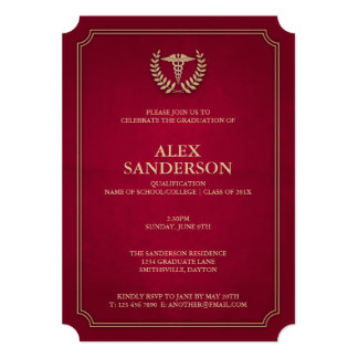 Dark Red+Gold Medical Caduceus Graduation Party Card