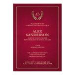 Dark Red + Gold Monogram/Laurel Wreath Graduation Card
