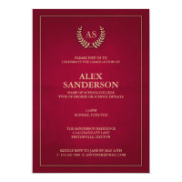 Dark Red + Gold Monogram/Laurel Wreath Graduation Card