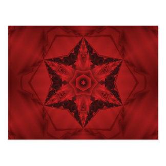 Dark red gothic kaleidoscope  6 point star postcard