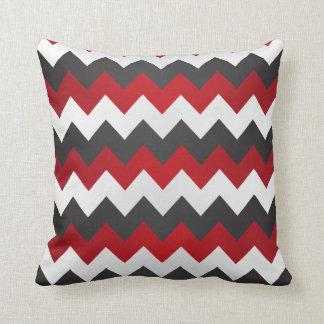 dark red gray and white chevron zigzag throw pillow