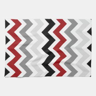Dark Red Gray Black White Chevron Kitchen Towels at Zazzle