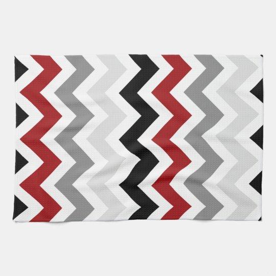 Dark Red Gray Black White Chevron Kitchen Towels