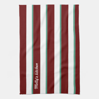 Dark Red Green Name wide and thin vertical stripes Towel