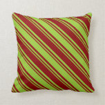 [ Thumbnail: Dark Red & Green Striped/Lined Pattern Pillow ]